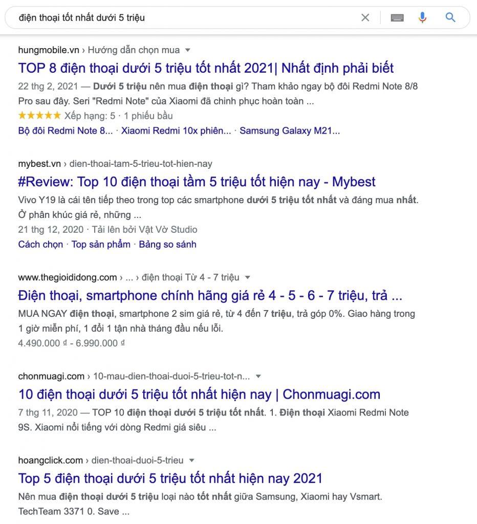 ảnh kết quả của google khi tìm kiếm từ khoá